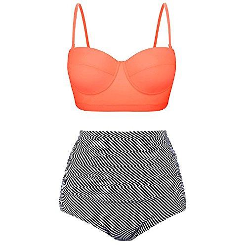 Lazzboy Badeanzug Bikini Set Damen Bademode Retro Stil Polka-Punkt mit Hoher Taille Backless Badebekleidung Strandmode(Orange,L)