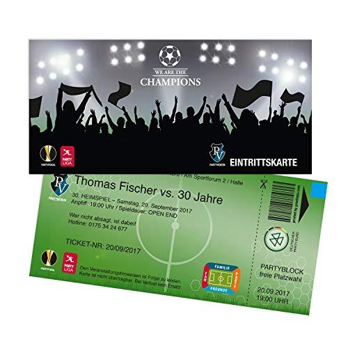 Einladungskarten Geburtstag als Fußballticket   10 Stück   Einladungen Karte   Einladungskarte Kindergeburtstag Junge   Druck Ihrer Texte inkl.