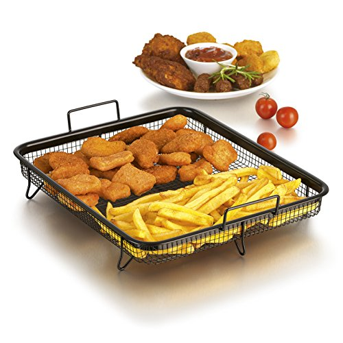 GOURMETmaxx Backofen Edelstahl-Grillkorb   Grillgitter, Grillblech, für fettarmes Heißluft-Garen im Ofen (Grillkorb)