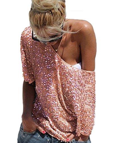 Minetom Damen Trägerlos Batwing T-Shirts Beiläufige Loose Paillette Tops Bluse Oberteile Street Style Gold DE 38