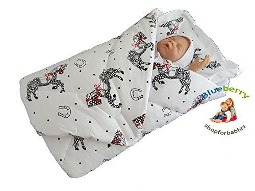 BlueberryShop Wickeldecke mit Kissen, Baumwolldecke, Schlafsack für Neugeborene von 0 bis 3 Monaten, Baby Shower, 78 x 78 cm, Weiß Pferd