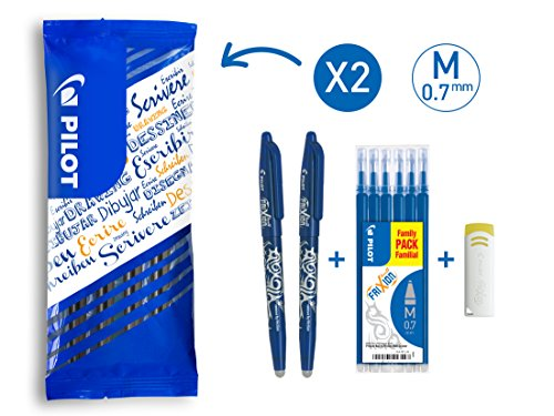 PILOT FriXion Ball, radierbarer Tintenroller, 9er Set (2 blaue FriXion Ball + 6 Ersatzminen + FriXion Radierer)