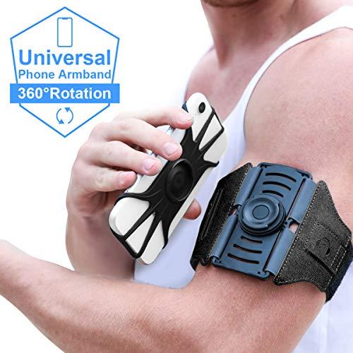 VUP Sportarmband, abnehmbare Handytasche Oberarm Fitness Laufarmband, 360° drehbar Handyhalterung für Laufen Joggen Gym Radfahren Wandern kompatible mit alle 4 bis 6.5 Zoll Smartphones (Schwarz)