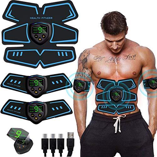 SHENGMI EMS Muskelstimulator bauchtrainer ABS Trainingsgerät Professionelle USB Elektrostimulation Elektrisch Bauchmuskeltrainer Fitnessgürtel für Damen Herren