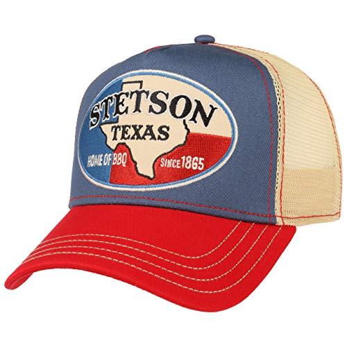 Stetson Home of BBQ Trucker Cap Damen/Herren - Truckercap mit Baumwolle - Basecap Mesh-Einsatz - Baseballkappe größenverstellbar - Baseballcap - Schirmmütze Sommer/Winter - Kappe beige One Size
