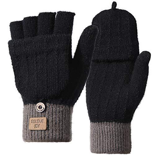 Homealexa Handschuhe Fingerlose Damen Winterhandschuhe, Strick Fingerhandschuhe mit Flip-Top, Warm Handschuhe für Skifahren Radfahren und SMS, Geeinget für Damen und Herren(Fingerlos(schwarz))