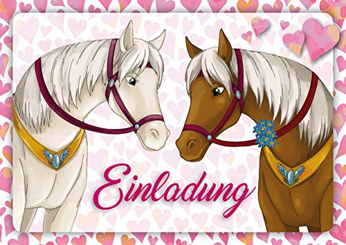 10 Pferde-Einladungen (Set 1) / Geburtstagseinladungen Kinder Mädchen Jungen: 12-er Set liebevoll illustrierte Pferde-Einladungskarten zum Kindergeburtstag von Mädchen von EDITION COLIBRI (10741)