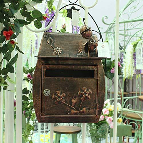 MXD Mailbox Europäischen Klassische Villa Im Freien Briefkasten Garten Retro Wand Mit Schloss Briefkasten Briefkästen Wasserdichte Außen Briefkasten Antike Messing