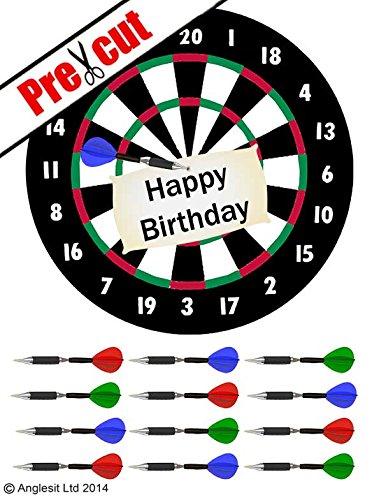 """Kuchendekoration / Kuchen-Topper: Design: """"Happy Birthday"""" auf Dartboard, 18 cm Durchmesser, essbare Oblate / Reispapier, ideal für Geburtstagsparty"""