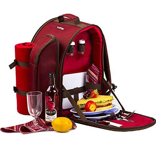 Apollowalker, roter Picknickrucksack für 2Personen, Korb mit Kühltasche, inkl. Geschirr und Fleece-Decke