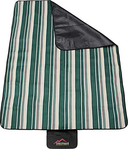 normani Outdoor Campingdecke Fleece mit Tragegriff wasserdicht isoliert Farbe Grün gestreift
