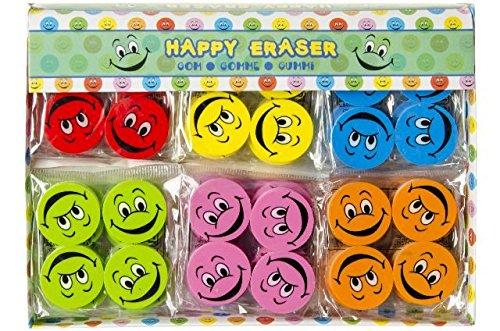 Schnooridoo 24 x Bunte Lachgesicht Radiergummi Eraser Lach Gesichter 6 Farben Kindergeburtstag Give Away