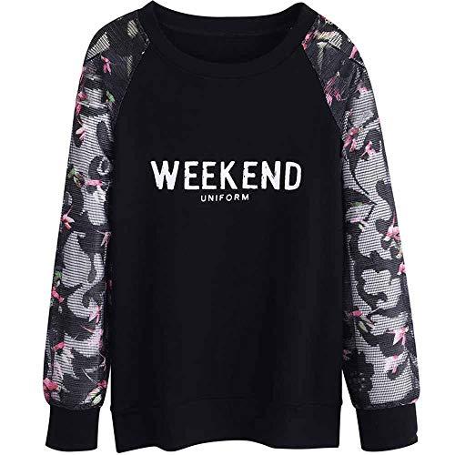 Weibliche langärmelige lose frühen Herbst Raglanhülsenlänge Shirt Mode Wilden Hemd grundiert Super Feuer T-Shirt Frauen - Schwarz,XXL