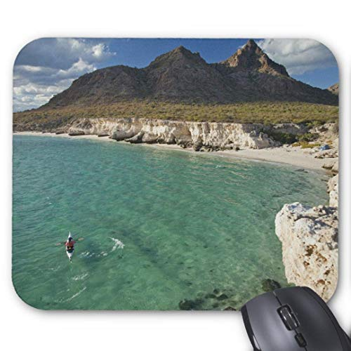 Mauspad/Mauspad, rutschfest, rund, für Computer/Laptop, 20 x 24 cm, Motiv: Meereskajaker, 2 Stück