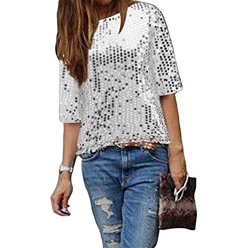 IHRKleid Damen Bluse Frauen Strapless Pailletten beiläufige lose T-Shirt Tops Langarm Weg von der Schulter Hemd Bluse (L, Silber)