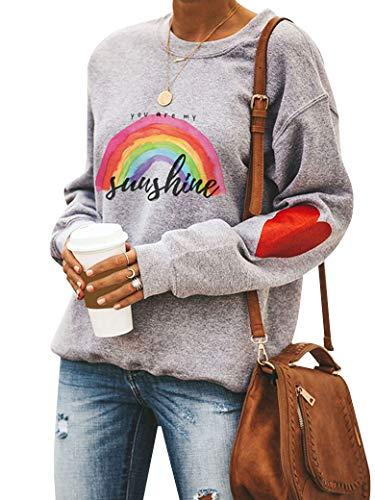 Dresswel Damen You Are My Sunshine Sweatshirt Regenbogen Pullover Pulli Herz Druck Rundhals Lanagrmshirt Oberteile Bluse Tops