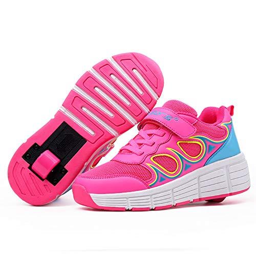 Recollect Kinder Schuhe Mit Rollen Automatisch Einziehbar 1 Räder Skateboardschuhe Outdoor Fitnessschuhe Gymnastik Turnschuhe Running Sneaker für Mädchen,Rosa,37 EU