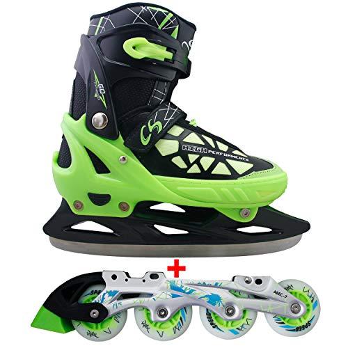 Cox Swain 2 in 1 Kinder Skates-/Schlittschuh -Blake- LED Leuchtrollen, ABEC 7 Carbon Lager, Schwarz/Grün, S (33-36)