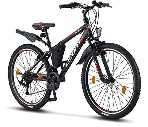 Licorne Bike Guide (Schwarz/Rot/Grau), 26 Zoll Mountainbike, MTB, geignet ab 150 cm, Shimano 21 Gang-Schaltung, Gabelfederung, Jungen-Fahrrad