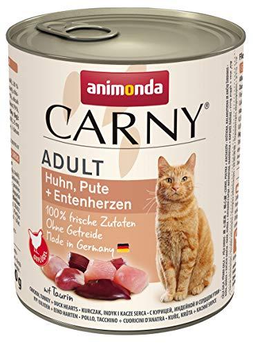 animonda Carny Adult Katzenfutter, Nassfutter für ausgewachsene Katzen, Huhn, Pute + Entenherzen, 6 x 800 g