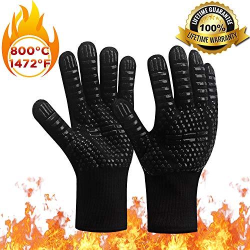 FUMENTON Backofen Handschuhe, Grillhandschuhe Hitzebeständig, doppelt hitzebeständig - 1472°F/800°C Hitzeschutz Handschuhe zum BBQ, Grillen, Backen, Kamin
