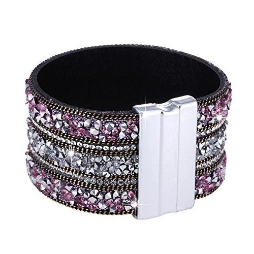 Morella Damen Glitzerarmband breit verziert mit Zirkoniasteinen und Magnetverschluss rosa Silber