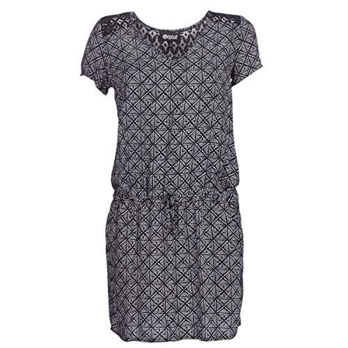 Rip Curl Lost Coast Dress Damen,Kleid,Beach-wear,Sommerkleid,kurz,Kurze Ärmel,V-Ausschnitt,Taillenzug,Black,XS