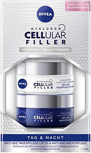 NIVEA Hyaluron Cellular Filler Anti-Age Tag & Nacht Set (2 x 50 ml), Set mit Tagespflege LSF 30 & Nachtpflege, Gesichtspflege mit Hyaluron, Kollagen Booster & Magnolia Extrakt