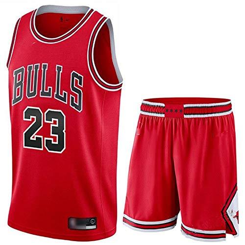 JX-PEP Bullen # 23 Sommertrikots, Herren Retro Basketball Shorts, Basketball Uniform Top & Kurzer Anzug,Rot,XL