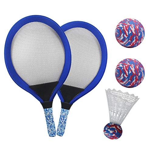 YIMORE Kinder Schläger Set mit Federball Tennisball, Badminton Tennisschläger Racket Spielzeug für Kinder ab 3 Jahren (Blau)
