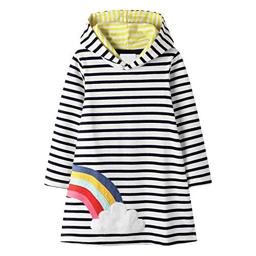FILOWA Kleid für Mädchen Hoodie Pullover Herbst Winter buntes Langarm Baumwolle Regenbogen Schwarz Weiß Streifen Casual Kinderkleidung Kinder Kleid Kapuzenpullover 2-8 Jahre