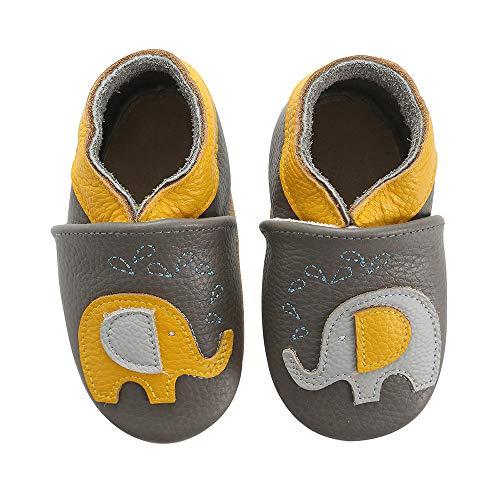 koshine Weiches Leder Krabbelschuhe Baby Schuhe Kinder Lauflernschuhe Hausschuhe 0-3 Jahre (6-12 Monate, Elefant)