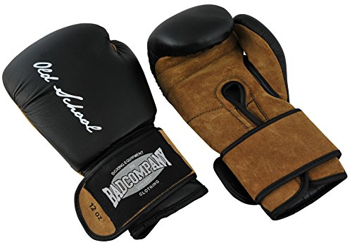 Bad Company Boxhandschuhe aus Leder I Modell Old School I Für das Boxtraining, Sparring und Wettkampf-Boxen I Gewichtsklasse 16 oz I Schwarz/Braun