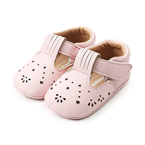 LACOFIA Baby Mädchen Ballerinas Kleinkind rutschfeste Lauflernschuhe Rosa 3-6 Monate