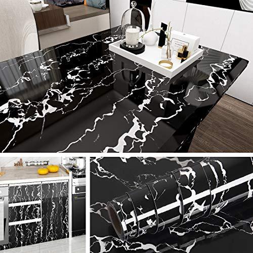 Livelynine Marmor Folie Schwarz Weiß Klebefolie Marmorfolie Für Möbel Tisch Küchenarbeitsplatte Fensterbank Folie Arbeitsplatte Küche Schminktisch Schreibtisch Schrank Klebefolie Marmoroptik 40CX2M