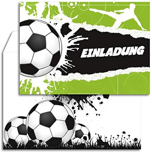12x Geburtstagseinladungen mit Umschlägen | Fußball-Party | Einladungskarten-Set für Geburtstag Kinder | Für Jungen & Mädchen | Einladung Kindergeburtstag Fussball-Einladungen Tor Stadion Jungs Cool