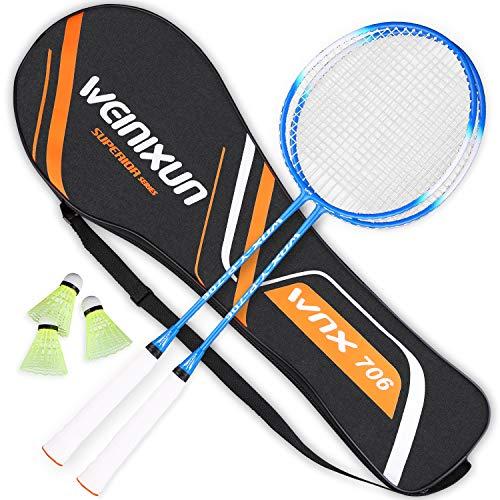 ZORARA Badminton Set Hochpräzise Ferrolegierung Profi Weinixun Badmintonschläger Federball Schläger Set für Training, Sport und Unterhaltung mit Federbälle & Schlägertasche (Blau)