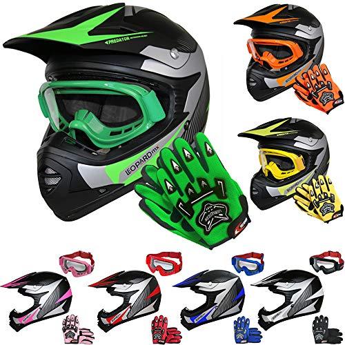 Leopard LEO-X19 Kinder Motocross MX Helm { Motorradhelm + Handschuhe + Brille} Grün L (53-54cm) ECE Genehmigt Crosshelm Kinderquad Off Road Enduro Sport