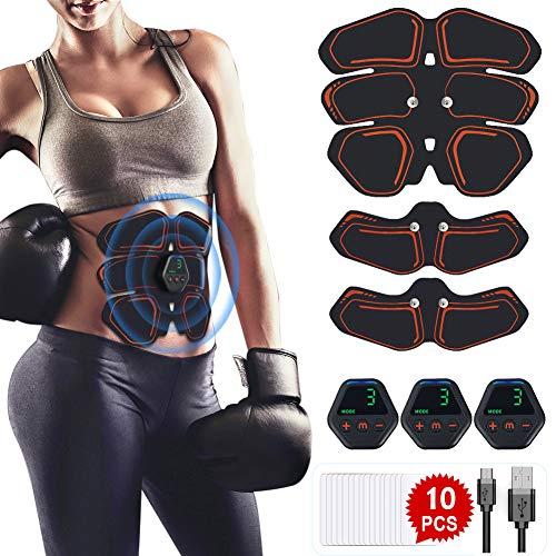 Hieha EMS Trainingsgerät Muskelstimulator, EMS Bauchmuskeltrainer Elektrostimulation Muskeltraining USB Wiederaufladbar für Körperbauund Fettverbrennung