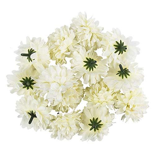 Ideen mit Herz Deko-Blüten, Kunstblumen, Blüten-Köpfe, Verschiedene Sorten, ca. Ø 4-5 cm (Dahlie - weiß - 14 Stück)