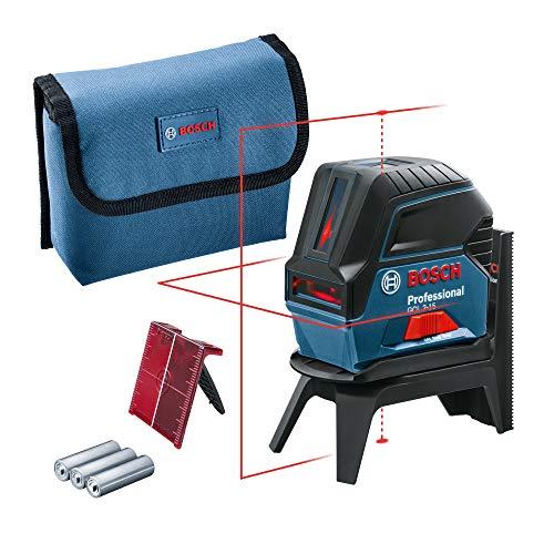 Bosch Professional Kreuzlinienlaser GCL 2-15 (roter Laser, Innenbereich, mit Lotpunkten, Arbeitsbereich: 15 m, 3x AA Batterien, Drehhalterung RM 1, Laserzieltafel, Schutztasche)