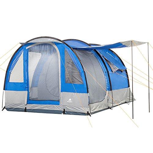 CampFeuer Campingzelt für 4 Personen | Großes Familienzelt mit 3 Eingängen und 2.000 mm Wassersäule | Tunnelzelt | blau/grau | Gruppenzelt | So Macht Camping Spaß!