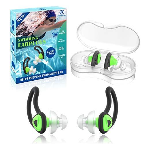 Hearprotek 2 Paare Schwimmer Ohrstöpsel Erwachsene, Verbessertes Silikon Passgenauer Wasserschutz Schwimmohrstöpsel für Schwimmer Becken Duschbad und andere Wassersportarten (Grün)