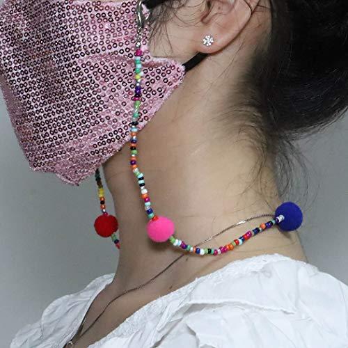 TseenYi Modische Gesichtsmaske, Kette, Perlenkette, Maske, Zubehör, farbige Haarkugel-Maskenhalter für Damen und Mädchen (blau)
