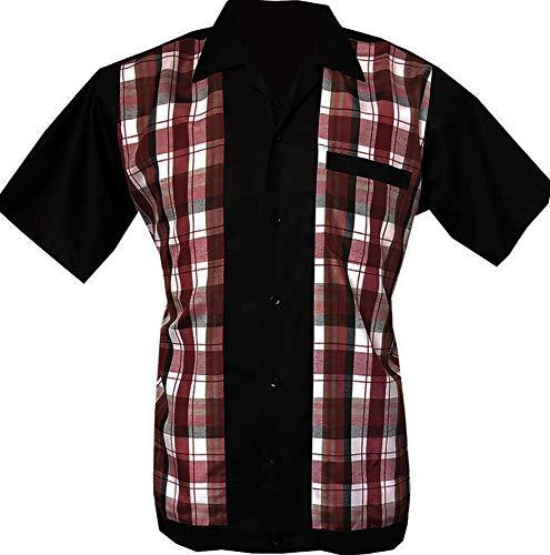 Rockabilly Fashions Herren Beiläufig Hemd zugeknöpft der 1950er Jahre 1960er Jahre Bowling Retro Vintages Hemd der Männer - Groß, Schwarz; Weiß; Rot; Burgund;