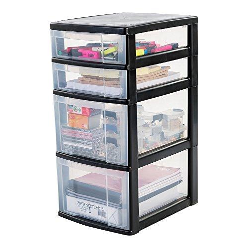 IRIS, Schubladenschrank / Schubladenbox / Rollwagen / Rollcontainer / Werkzeugschrank 'New Chest', NMC-322, mit Rollen, Kunststoff, schwarz / transparent, (B x T x H) : 30 x 38 x 62 cm