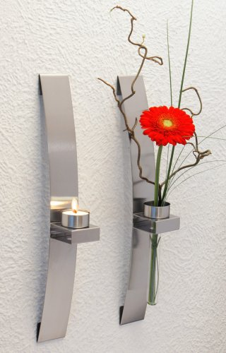 chg Wandleuchter/Blumenhalter 39,5x5x8 cm 2 Stück, Edelstahl, silber, 40 x 5 x 8 cm