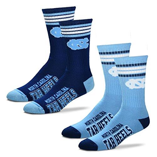 For Bare Feet Herren NCAA 2er-Packung, gestreift, Größe L und M, Herren, North Carolina Tar Heels-2 Pack-Carolina Blue/Navy, Medium (5-10)
