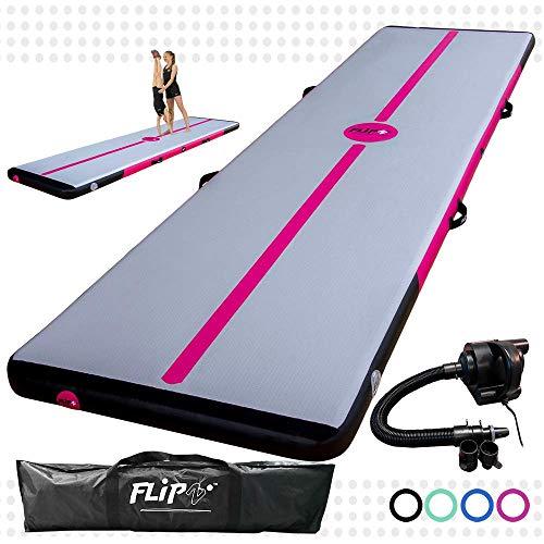 FlipZ Airtrack für Tumbling | Schadstofffrei Aufblasbare Turnmatte mit Pumpe für Gymnastik, Yoga, Training und Parkour zu Hause | 3 Meter Pink 10 cm hoch