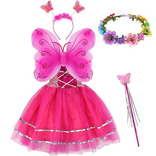 Tacobear 5 Stück Feenkostüm Kinder mit Feenflügel Feenkleid Blumenkranz Haare Schmetterling Fee Haarreif Haarband Feen Zauberstab Halloween Party Prinzessin Fee Kostüm Zubehör für Mädchen (Pink)